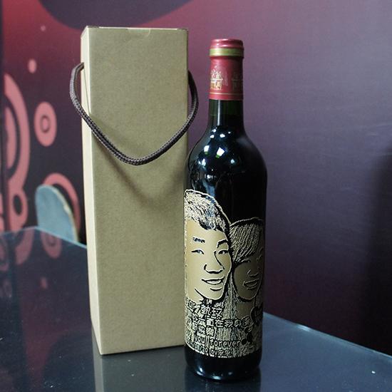 紅酒酒瓶雕刻寫實照片180度